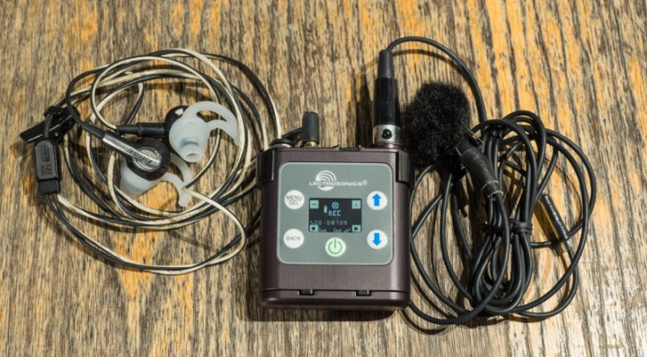 The compact PDR with phones and Saken COS-11D lav mic... it doesn't take up much room.