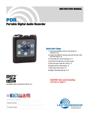 Download the PDR Quick Start Guide PDF.