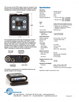 Download the PDR tech specs PDF.