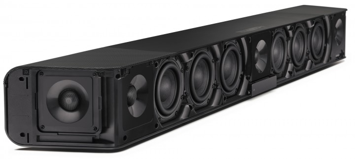 The AMBEO Soundbar – pictured here without its cover – provides immersive 5.1.4 sound without the need for a subwoofer. It enables broadcast mixers to critically evaluate their mixes on a premium product.
