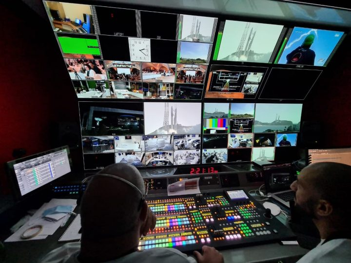 Inside Media Mania's OB2 during the Hope Probe launch with FOR-A set up pictured, including FOR-A HVS-2000 switcher and MV-4200 multi-viewers.